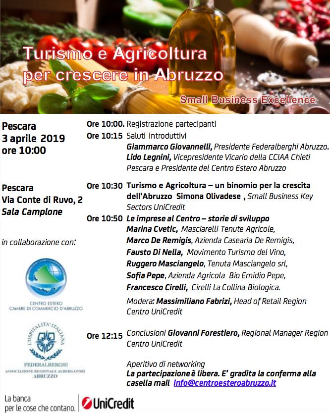 """A Pescara il convegno """"Turismo e Agricoltura per crescere in Abruzzo"""" il 3 aprile 2019"""