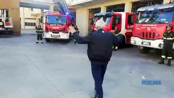 VIDEO | Il saluto dei vigili del fuoco al comandante provinciale Palano