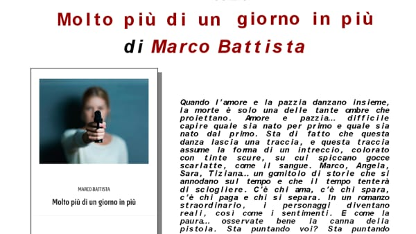"""Marco Battista presenta a Spoltore il romanzo """"Molto più di un giorno in più"""""""